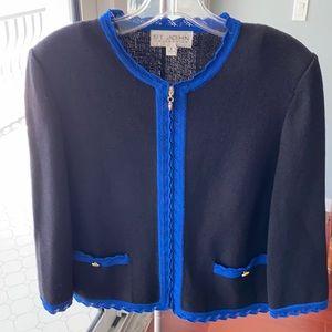St. John black and blue zip sweater blazer. Size 2